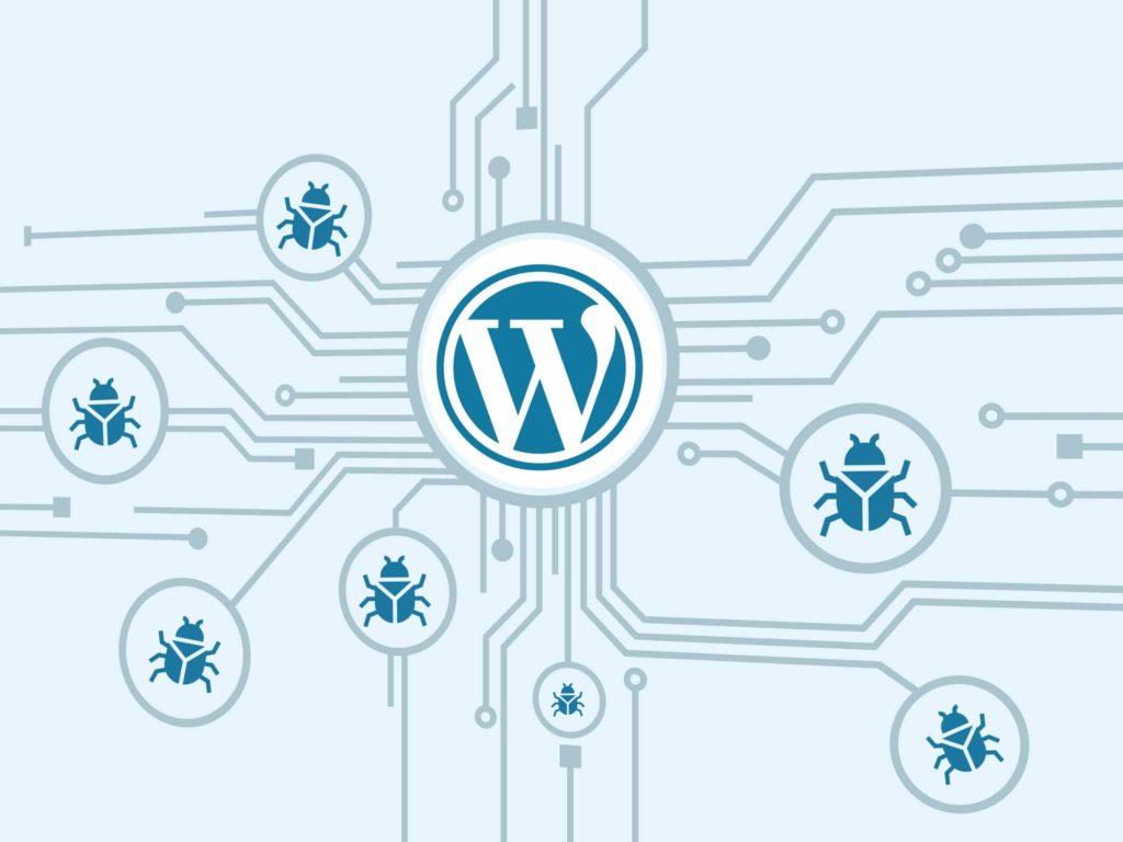 Website gehackt Bild mit WordPress Logo und Käfern als Malware Befall